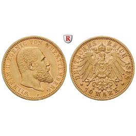 Deutsches Kaiserreich, Württemberg, Wilhelm II., 10 Mark 1898, F, ss-vz/vz, J. 295