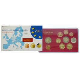 Bundesrepublik Deutschland, Euro-Kursmünzensatz 2012, ADFGJ komplett, PP