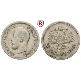 Russland, Nikolaus II., 25 Kopeken 1896, ss