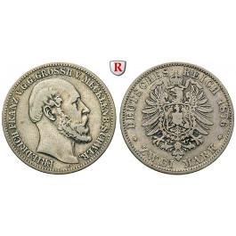 Deutsches Kaiserreich, Mecklenburg-Schwerin, Friedrich Franz II., 2 Mark 1876, A, f.ss, J. 84
