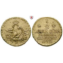 Brandenburg-Preussen, Königreich Preussen, Friedrich II., Passiergewicht für 1/2 Louis d`or 1772, ss-vz