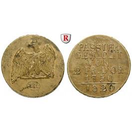 Brandenburg-Preussen, Königreich Preussen, Friedrich Wilhelm III., Passiergewicht für 2 Friedrich d`or 1820, f.vz