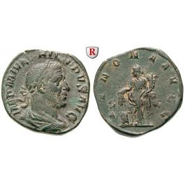 Römische Kaiserzeit, Philippus I., Sesterz 244-249, ss-vz
