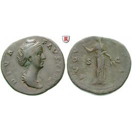 Römische Kaiserzeit, Faustina I., Frau des Antoninus Pius, Sesterz nach 141, ss/f.ss