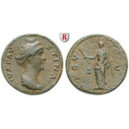 Römische Kaiserzeit, Faustina I., Frau des Antoninus Pius, As nach 141, ss+/ss
