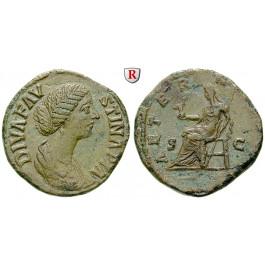 Römische Kaiserzeit, Faustina II., Frau des Marcus Aurelius, Sesterz nach 175, ss-vz