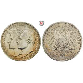 Deutsches Kaiserreich, Sachsen-Weimar-Eisenach, Wilhelm Ernst, 3 Mark 1910, Hochzeit mit Feodora, A, ss-vz/vz, J. 162