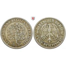 Weimarer Republik, 5 Reichsmark 1932, Eichbaum, A, ss+, J. 331