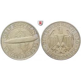 Weimarer Republik, 3 Reichsmark 1930, Zeppelin, E, f.vz, J. 342