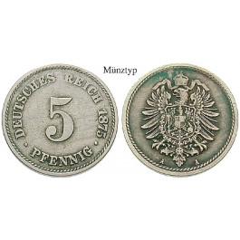 Deutsches Kaiserreich 5 Pfennig 1875 G Ss J 3