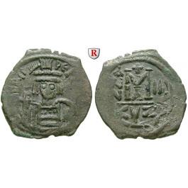 Byzanz, Heraclius, Follis Jahr 3 = 612-613, ss+