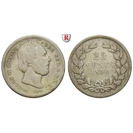 Niederlande, Königreich, Willem III., 25 Cents 1890, s+