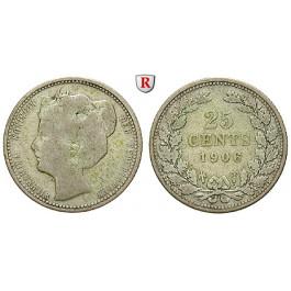Niederlande, Königreich, Wilhelmina I., 25 Cents 1906, f.ss