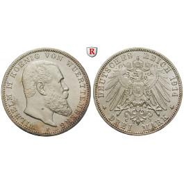 Deutsches Kaiserreich, Württemberg, Wilhelm II., 3 Mark 1914, F, vz, J. 175