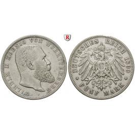 Deutsches Kaiserreich, Württemberg, Wilhelm II., 5 Mark 1899, F, ss, J. 176
