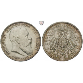 Deutsches Kaiserreich, Baden, Friedrich I., 5 Mark 1907, auf den Tod, G, vz-st/st, J. 37
