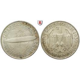 Weimarer Republik, 3 Reichsmark 1930, Zeppelin, A, vz/vz-st, J. 342