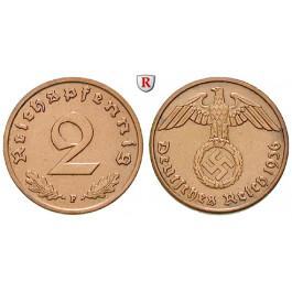 Drittes Reich, 2 Reichspfennig 1936, F, vz, J. 362