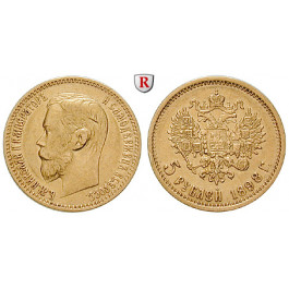 Russland, Nikolaus II., 5 Rubel 1898, 3,87 g fein, ss+