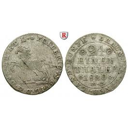 Braunschweig, Herzogtum Braunschweig, Karl II. unter Vormundschaft des Prinzregenten George von England, 1/24 Taler 1820, ss