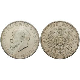 Deutsches Kaiserreich, Bayern, Ludwig III., 5 Mark 1914, D, f.vz, J. 53