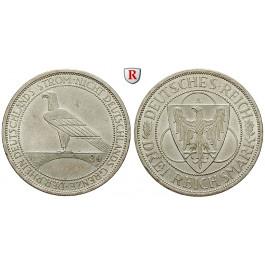 Weimarer Republik, 3 Reichsmark 1930, Rheinlandräumung, A, vz+, J. 345