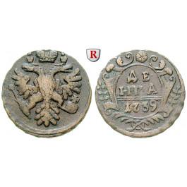Russland, Anna, Denga 1739, ss+