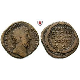 Römische Kaiserzeit, Marcus Aurelius, Sesterz 170-171, ss