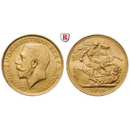 Grossbritannien, George V., Sovereign 1915, 7,32 g fein, vz