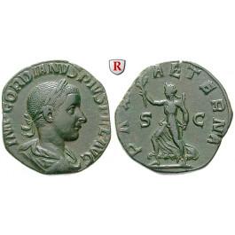 Römische Kaiserzeit, Gordianus III., Sesterz 240, ss+