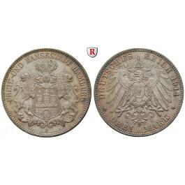 Deutsches Kaiserreich, Hamburg, 3 Mark 1914, J, vz+, J. 64