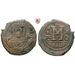 Byzanz, Mauricius Tiberius, Follis 596-597, Jahr 15, ss