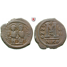 Byzanz, Justin II., Follis 570-571, Jahr 3, ss