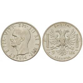 Albanien, Vittorio Emanuele III., 5 Lek 1939, ss-vz