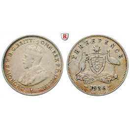 Australien, George V., 3 Pence 1936, ss