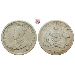 Australien, George V., 6 Pence 1918, s+