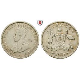 Australien, George V., 6 Pence 1926, ss