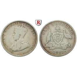 Australien, George V., Shilling 1911, s+