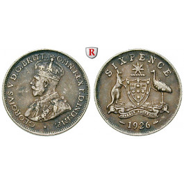 Australien, George V., 6 Pence 1926, ss+
