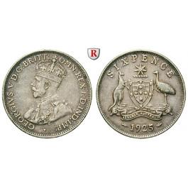 Australien, George V., 6 Pence 1925, ss+