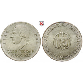 Weimarer Republik, 3 Reichsmark 1929, Lessing, A, vz/vz-st, J. 335