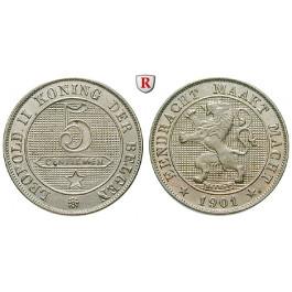 Belgien, Königreich, Leopold II., 5 Centimes 1901, vz-st