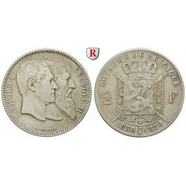 Belgien, Königreich, Leopold II., 2 Francs 1880, f.ss