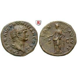 Römische Kaiserzeit, Domitianus, Caesar, As 72, ss-vz