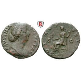 Römische Kaiserzeit, Faustina II., Frau des Marcus Aurelius, As 161-175, ss/f.ss