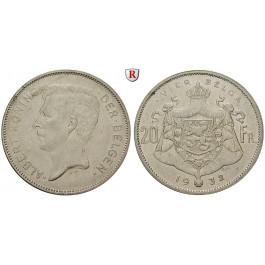 Belgien, Königreich, Albert I., 20 Francs 1932, ss