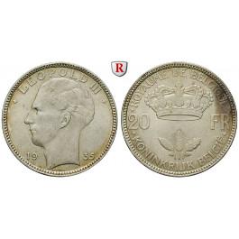 Belgien, Königreich, Leopold III., 20 Francs 1935, vz