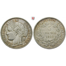 Frankreich, II. Republik, 5 Francs 1850, ss-vz