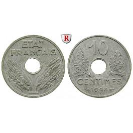 Frankreich, Vichy - Regierung, 10 Centimes 1943, f.st