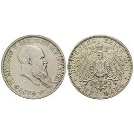 Deutsches Kaiserreich, Sachsen-Meiningen, Georg II., 2 Mark 1901, zum 75. Geburtstag, D, f.vz/vz+, J. 149